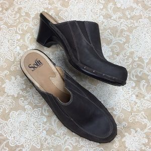 Sofft Brown Leather Clog Mules